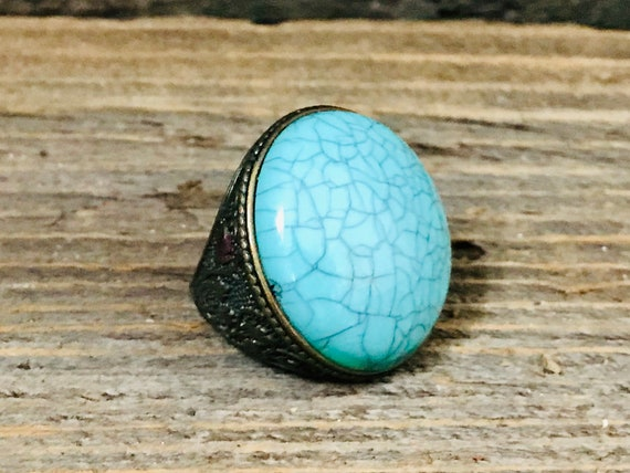 Vintage Brass Statement Ring, faux turquoise ring,