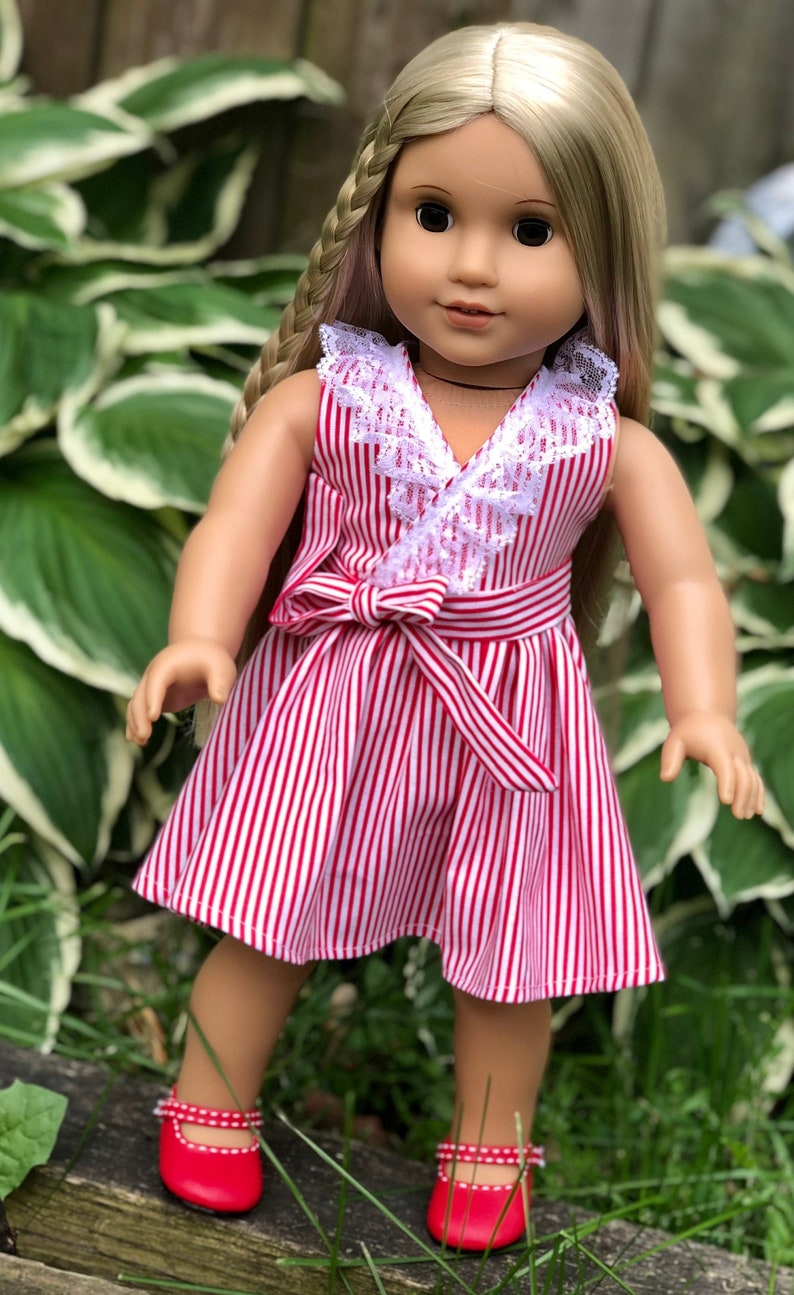"""Doll Clothes 18/"""" Shorts Pink Top Stripe Embroidered Purse Fit American Girl Doll"""