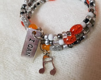 """24"""" Orange/White/Clear/Silver Seed Memory Bracelet with Charms"""
