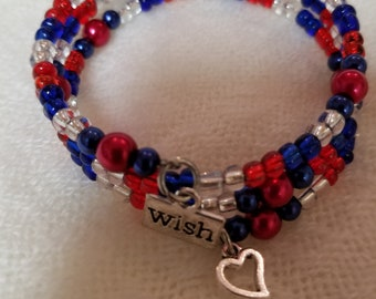 """23"""" Red/Clear/Blue Seed Memory Bracelet with Charms"""