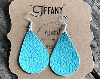 Tiffany faux leather drop earrings