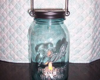 Vintage Blue Ball Quart Jar Lantern