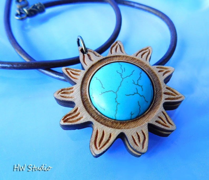 1pc Turquoise Howlite Sun Pendant Laser Cut Sun Pendant Natural Wood Stone Pendant Wood Stone Sun Pendant