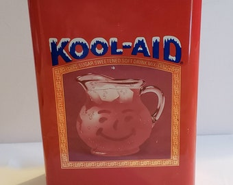Vintage Kool-Aid Tin. Advertising container. Retro kitchen decor. 1980's collectable. Advertisement  box. Red kitchen container.