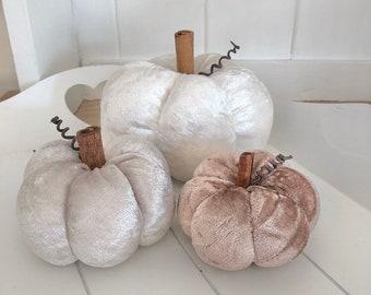 Three 'oyster neutral' crushed velvet pumpkins
