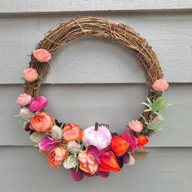 30cm Pink pumpkin autumn door wreath/ wall decor image 0