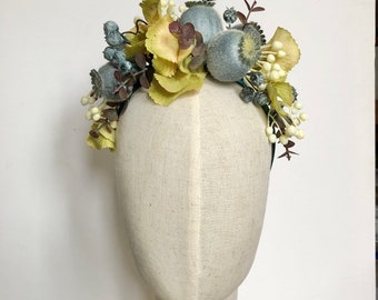 Winter faux floral headband headdress crown