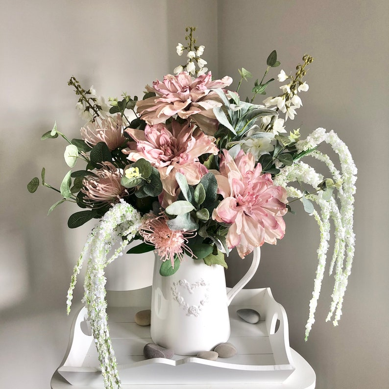 Large hand tied arrangement in pink and white image 0