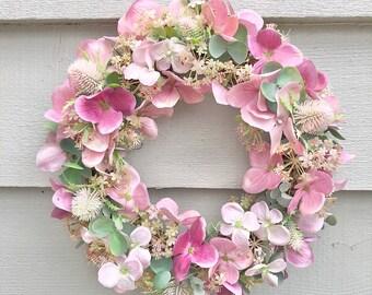 26cm 'Pretty in Pink' door wreath