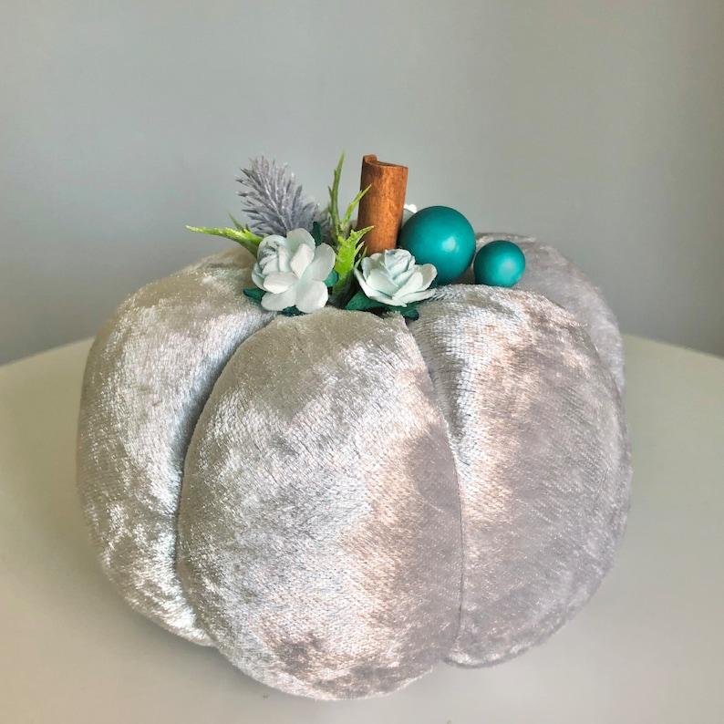 13cm silver blue plush pumpkin image 0