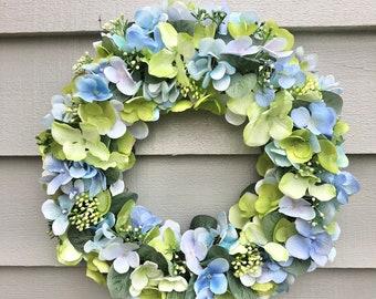 38cm blue and green faux hydrangea door wreath/ wall decor
