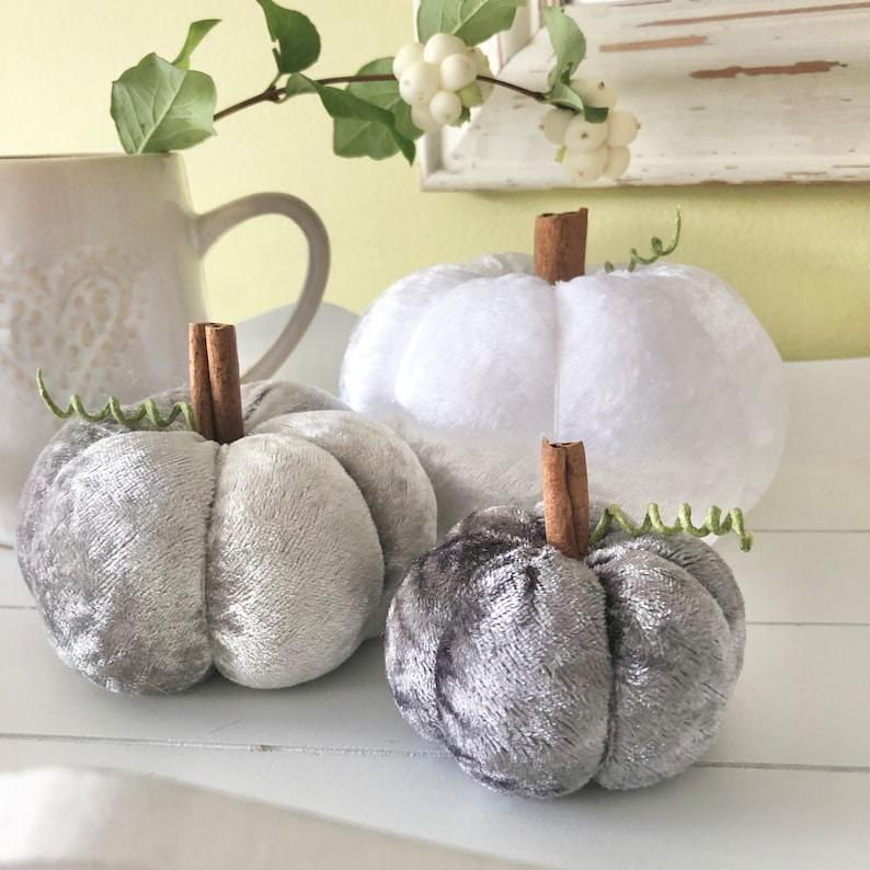 Three white and grey  crushed velvet pumpkins image 1