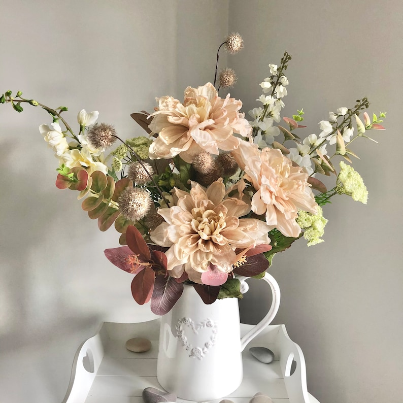 Large hand tied arrangement of cream and white faux flowers image 0