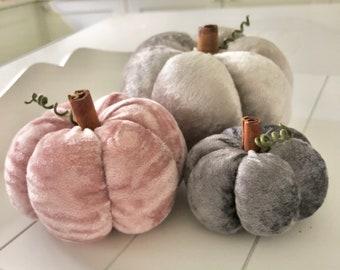 Three pink and grey crushed velvet pumpkins