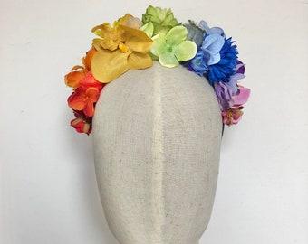 Rainbow festival flower crown headdress hairband