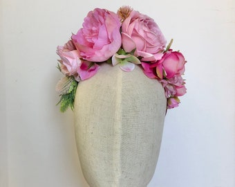 Pretty in pink boho flower crown headdress hairband