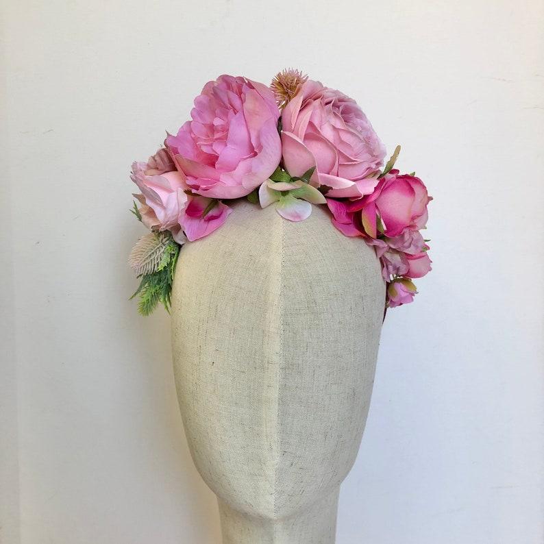 Pretty in pink boho flower crown headdress hairband image 0
