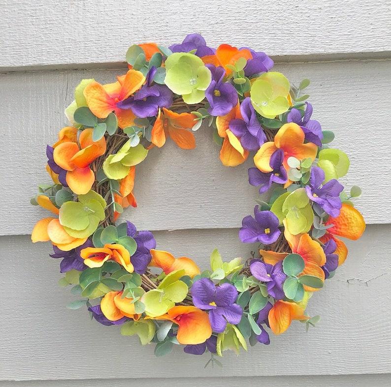 28cm orange and purple door wreath/ wall decor image 0