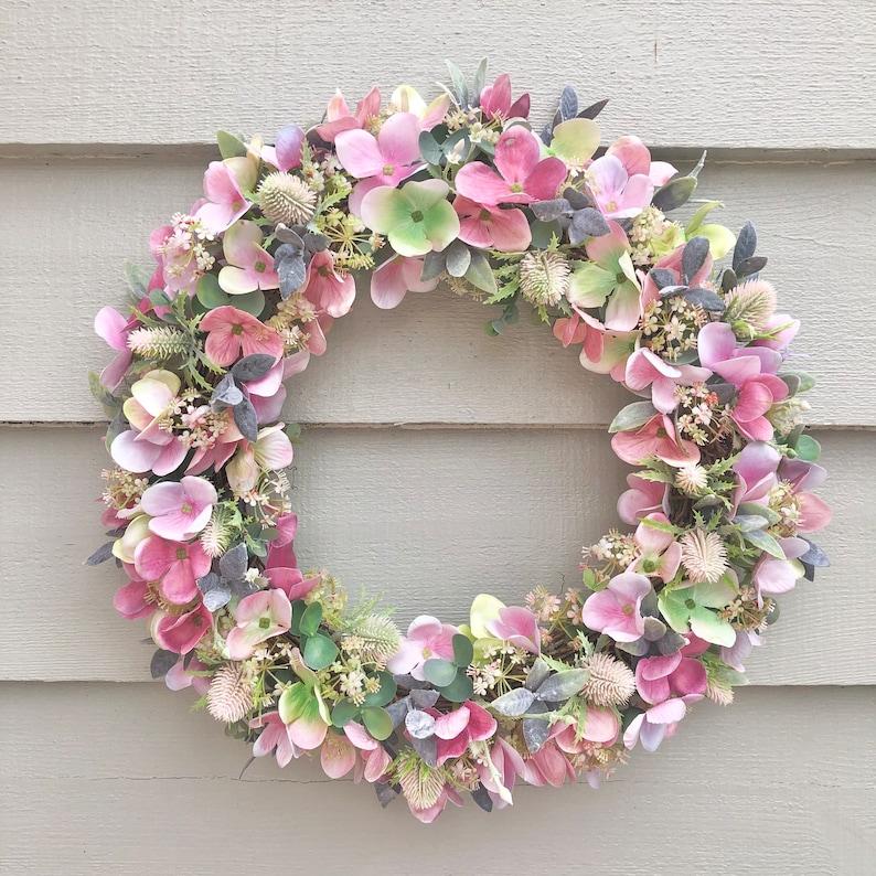 38cm 'Pretty in Pink' faux hydrangea door wreath image 0