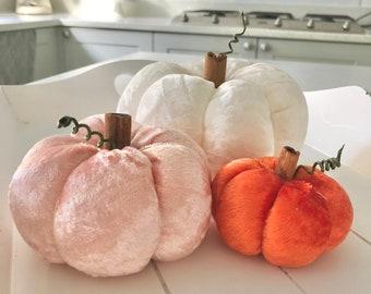 Three cream and peach crushed velvet pumpkins
