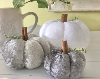 Three grey and white crushed velvet pumpkins
