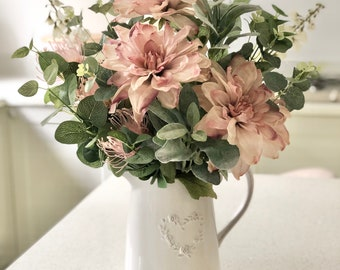 Large hand tied arrangement in pink and white