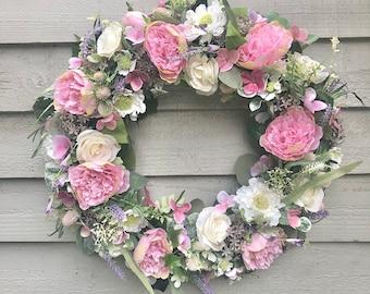 50cm super plush 'Summer Garden' door wreath/ wall decor