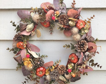 Indoor wreath of faux and dried materials
