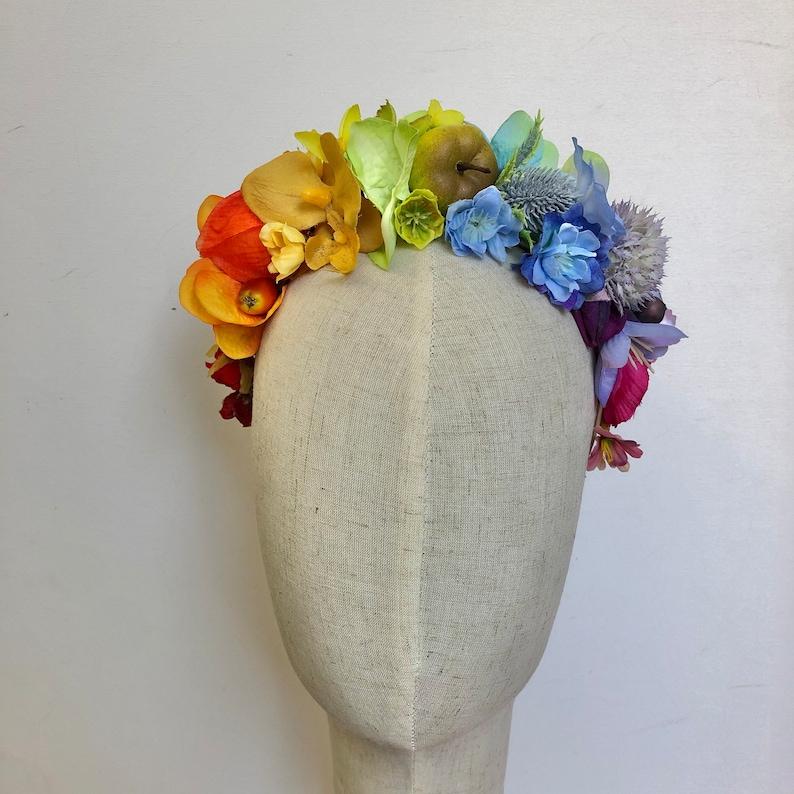 Rainbow festival flower crown headdress hairband image 0