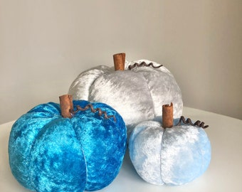 Three blue and silver crushed velvet pumpkins