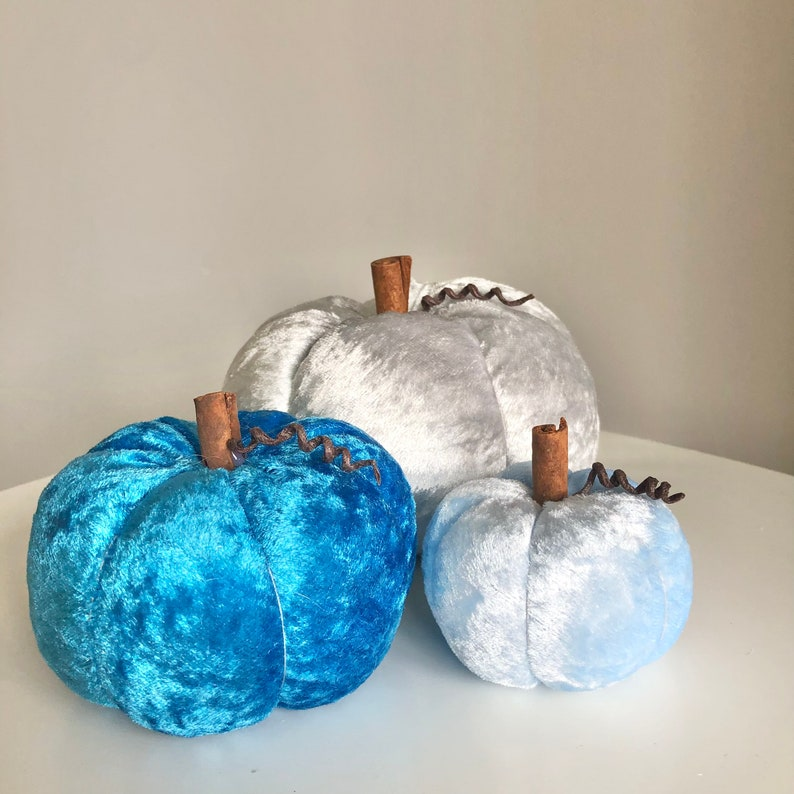 Three blue and silver crushed velvet pumpkins image 0