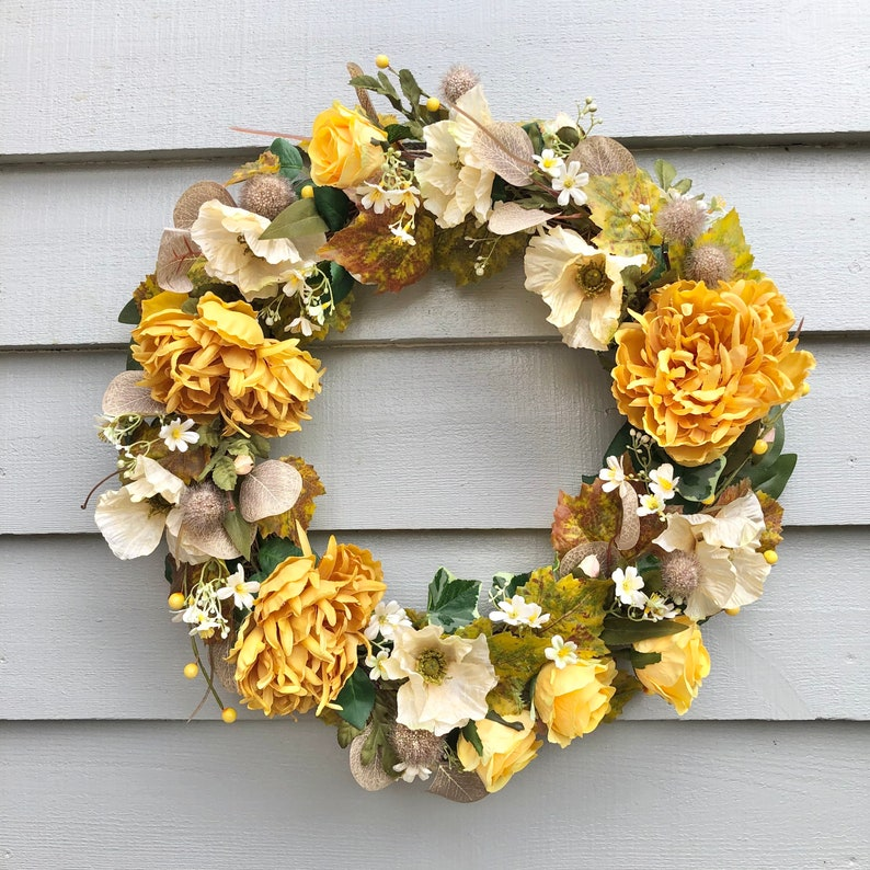 50cm luxury ochre and cream wreath image 0