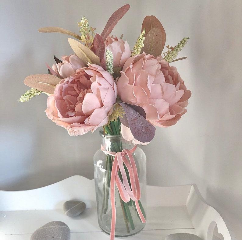 Medium sized hand tied arrangement of blush pink peonies image 0