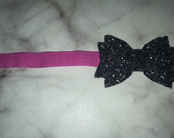 Gunmetal grey bow headband