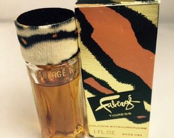 FABERGE TIGRESS parfum. Cologne 1oz bottle Tiger Fur Top. Original formula, rare, vintage 1980s