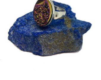 Mystic Druzy Agate Sterling Silver Ring
