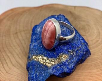 Rhodochrosite Stone Sterling Silver Ring