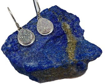 Genuine white Druzy Agate Sterling Silver earrings