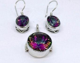 Mystic Quartz  Set Earrings and Pendant