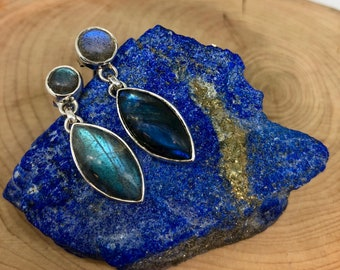 Labradorite Handmade 925 Sterling Silver Earrings