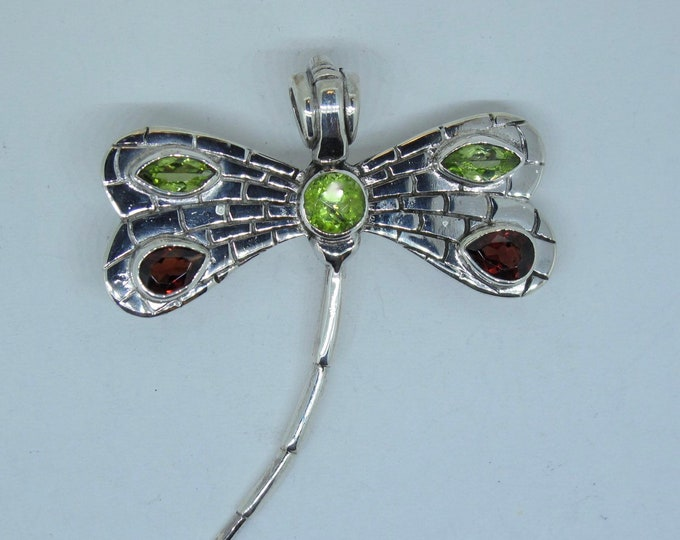 Dragonfly Multi Coloured Sterling Silver Pendant