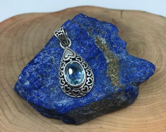 Genuine Blue Topaz Sterling Silver Set comes with Pendant and Earrings