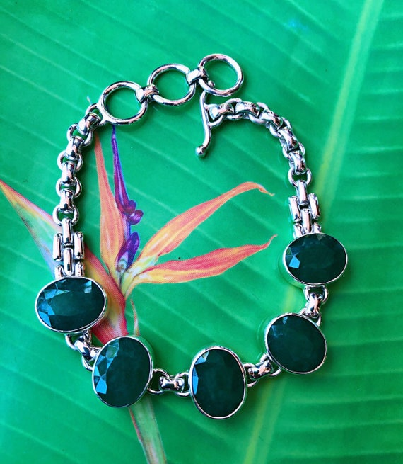 Green Emerald Sterling Silver Bracelet