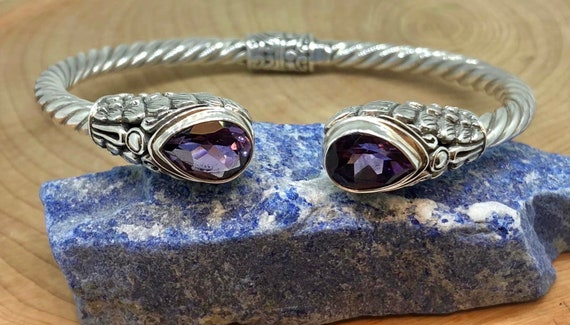 Genuine Amethyst Sterling Silver Bangle