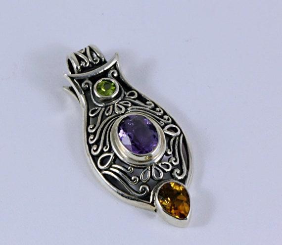 Green Peridot, Amethyst, lemon quartz Sterling Silver Pendant