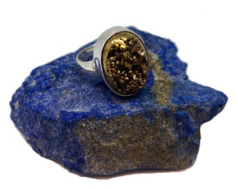 Glamorous Gold Druzy Agate Sterling Silver Ring