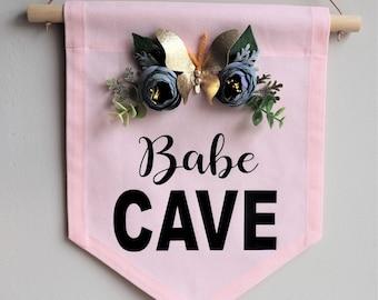Handmade Babe Cave Banner, Canvas Wall Banner, Fabric Wall Banner, Wall Hanging, Nursery Wall Hanging, Pennant Flag, Kids Room