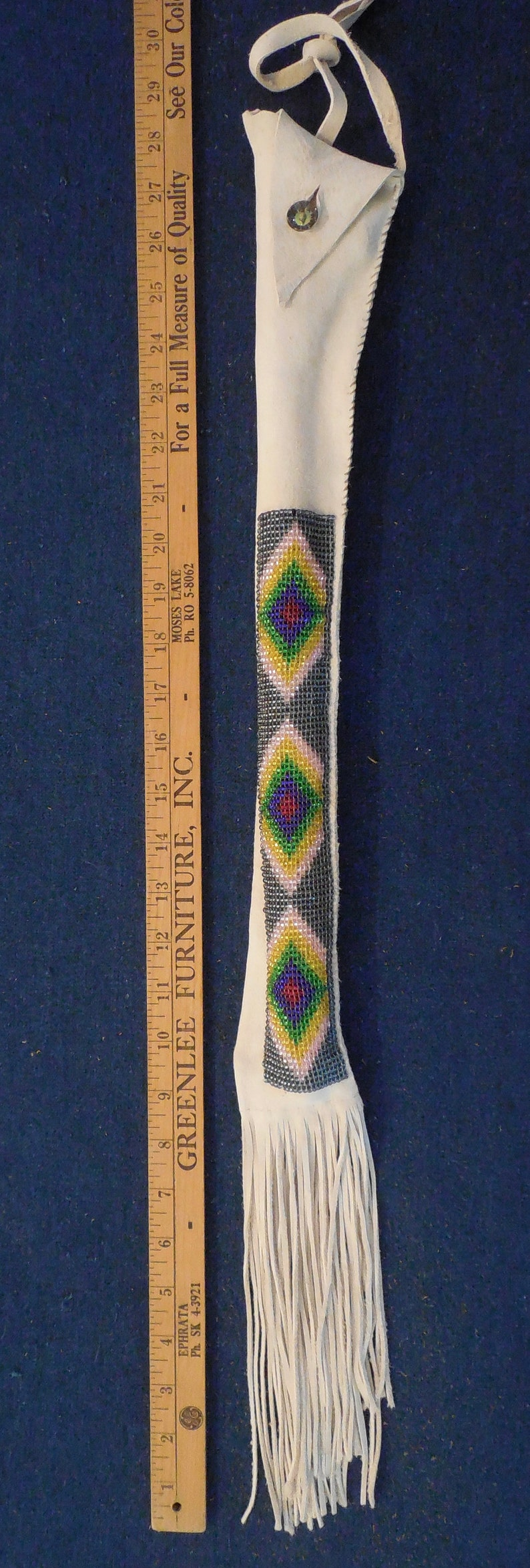 Native American Inspired Plains Indians beaded bag w Pipestone and stem.