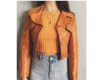 Super soft Mexican leather cropped jacket 70's style size small