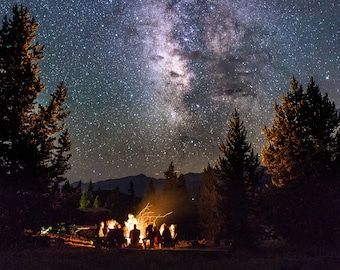 METAL PRINT. Fine Art Photography Print. Campfire Under Stars.